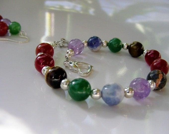 Chakra Bracelet - Spiritual Energy Flow 7 Chakra Gemstones, Beaded Bracelet, Chakra Balance, Reiki Jewelry, Chakra Jewelry