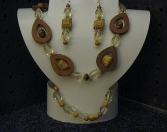 GLASS And WOODEN BEADS  One of a Kind Necklace, Bracelet, and Earrings