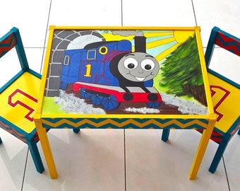 Thomas the Train with Chevron Stripes Play Table and 2 Chairs