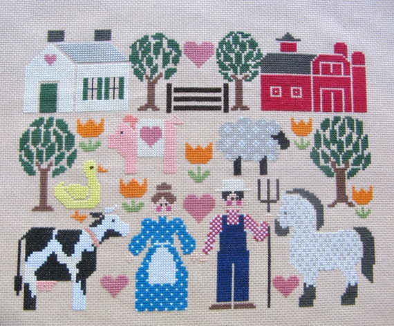 """Counted Cross Stitch """"Old MacDonald's Farm"""" Embroidery Floss Needle Craft Handmade"""