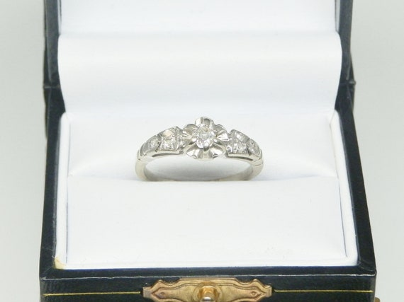 Vintage European Cut Diamond Engagement Ring in 14 kt White Gold Circa 1930's