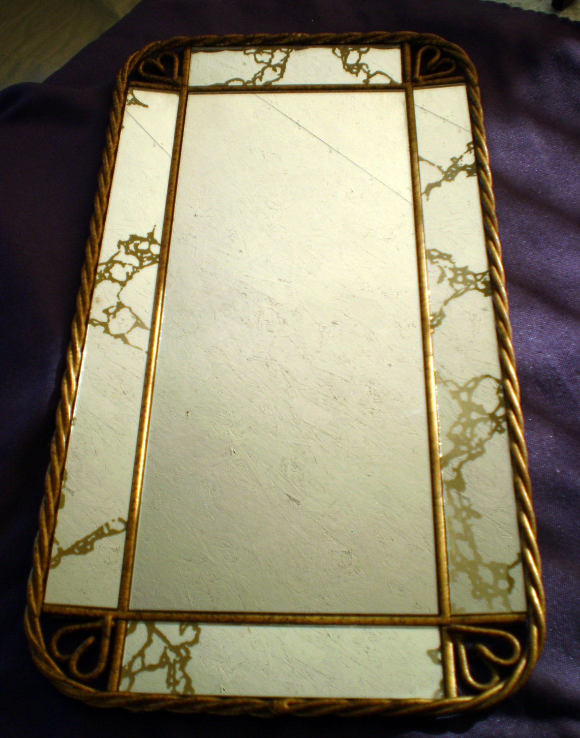 Vintage Gold Veined Mirror For Wall Or Vanity By