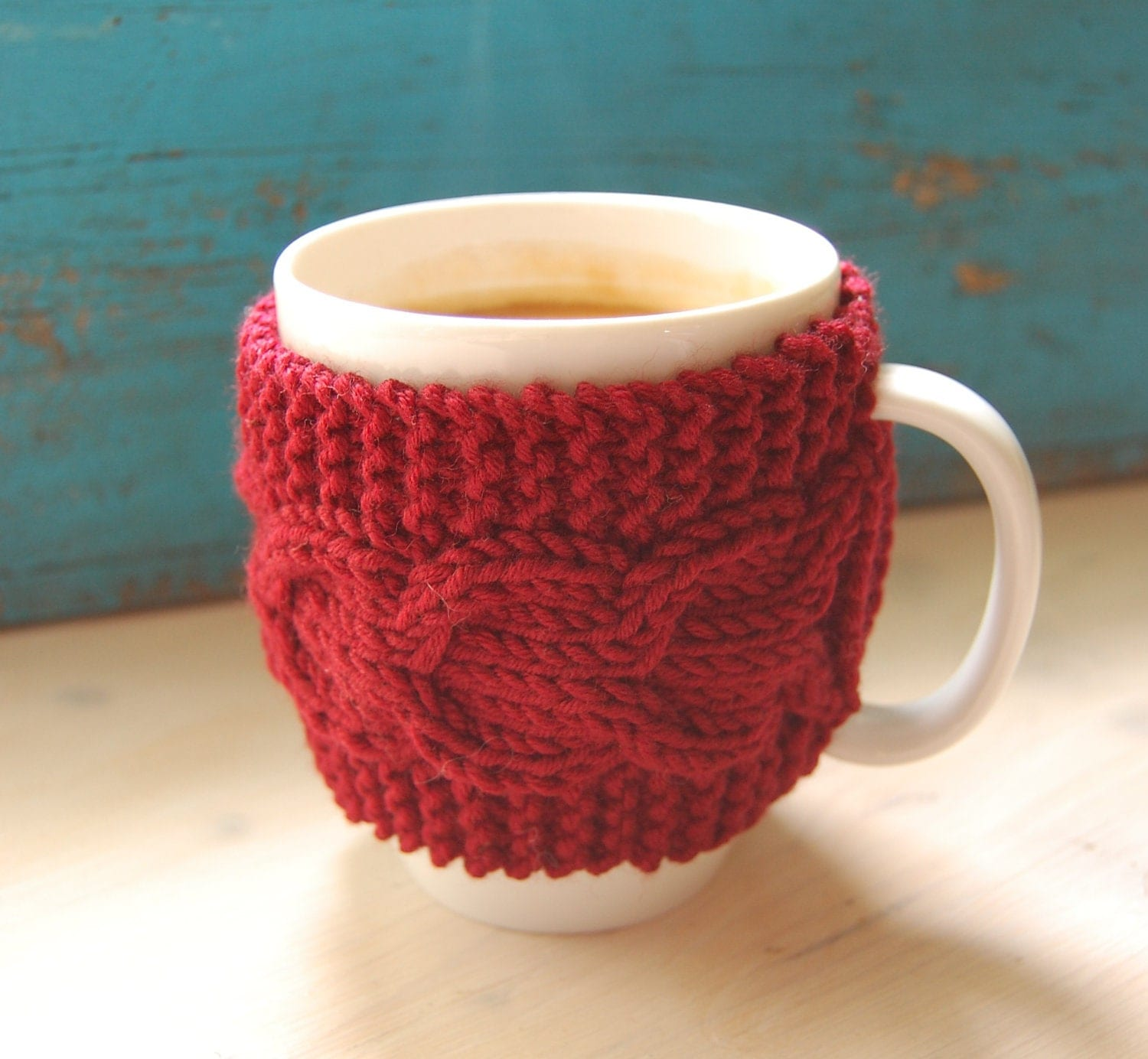Knit coffee mug cozy with cable pattern hand knitted by ...