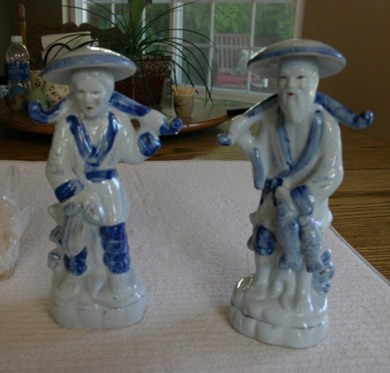 SALE Traditional Blue and White Bisque Asian Couple