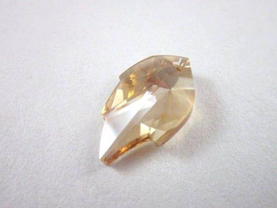 Golden shadow Swarovski crystal leaf pendant 26x16mm