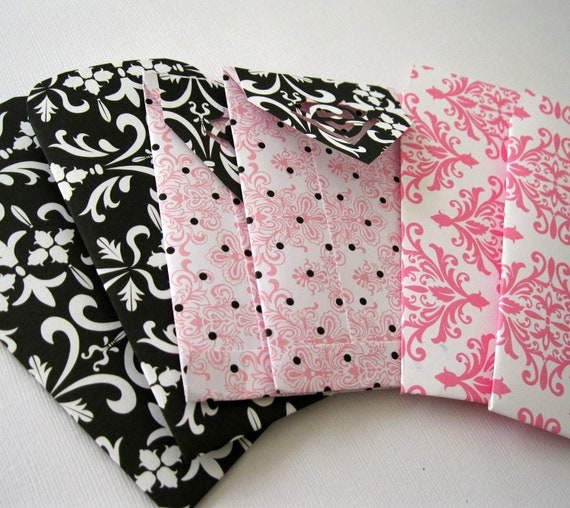 Handmade Luxe Mini Envelopes Pink and Black 4 x 2.5 in
