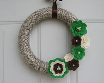 Brown, Green and Cream Yarn and Felt Flower Wreath, Modern Door Wreath