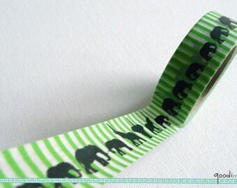 Washi Tape -  Elephant Parade  // Elephant Washi Tape, Green Washi Tape, Animal Washi Tape, Zoo Washi Tape, Masking Tape // 10m