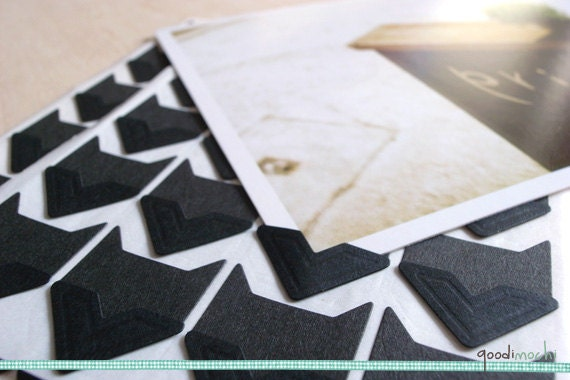 Black Photo Corner Stickers Scrapbook Embellishment Album