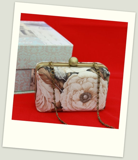 Hard Case Clutch Purses - 5in x 3in with decorative antique Bronze Bobble frame