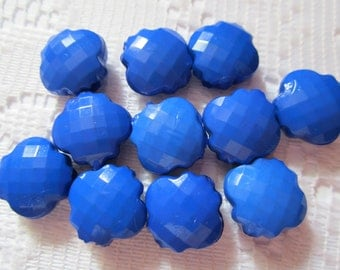 10  Royal Blue Quilted Flower Acrylic Beads  12mm