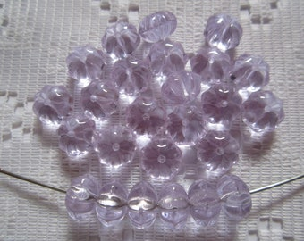 25  Light Alexandrite Lavender Fluted Squashed Melon Czech Glass Beads  8mm x 6mm