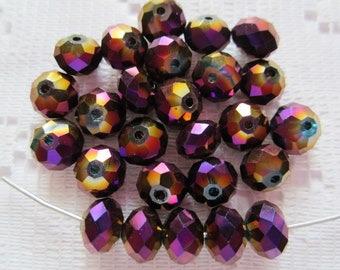 25  Purple & Gold Metallic AB Vitrail Facected Rondelle Crystal Beads   6mm x 4mm