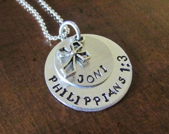 Hand Stamped Necklace with Name, Bible Verse and Cross Charm