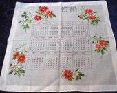 Vintage Christmas Handkerchief - 1970 Calendar - Unused - VerasLinens