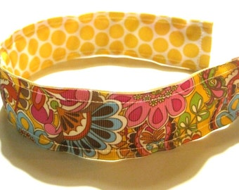 Preppy REVERSIBLE Headband Girl Headband Hairband Cute Yellow Brown Paisley Polka Dots Grosgrain Ribbon, Birthday gift party favor, Washable