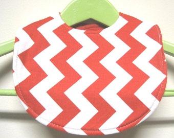 Reversible Infant Baby Bib- Cute RED CHEVRON- Baby Shower Gift- Feeding Nursing, Cute Baby Gift