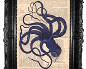 Blue octopus- ORIGINAL ARTWORK dictionary art print Hand Painted  Mixed Media on  antique architecture magazine 1920s