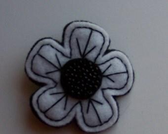 Black and White Felt Flower Pin Brooch