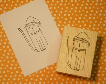 christmas cat wood mounted rubber stamp KP2910G