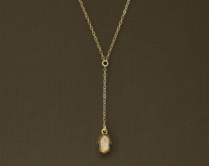 Delicate Rosary Necklace with Pave Hamsa Charm