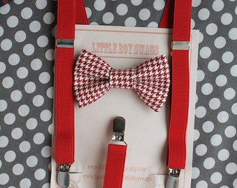 Boy Red Bow Tie Red Suspenders, Boys First Christmas Outfit, Baby Boy Gift, First Birthday Boy, Ring Bearer Outfit, Cake Smash, Boys Clothes