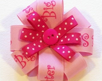 Big Sister Round Hair Bow - 3 inch bow
