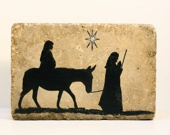 Advent- Tumbled Stone Paver- Joseph and Mary on their way to Bethlehem. Home Outdoor Garden Decor