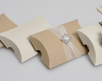 Recycled Kraft Pillow wedding gift boxes  ( pack of 50)