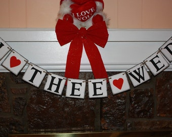 I THEE WED Wedding Banner - Engagement Party Decoration - Photo Prop
