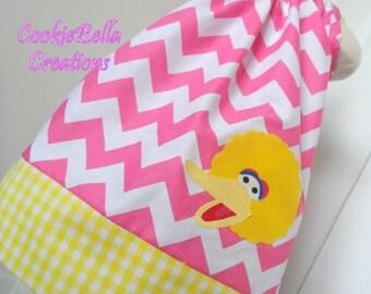 Big Bird Sesame Street Pink Chevron Pillowcase Dress