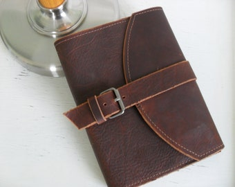 """Handmade refillable leather journal with buckle - """"The Preacher"""""""
