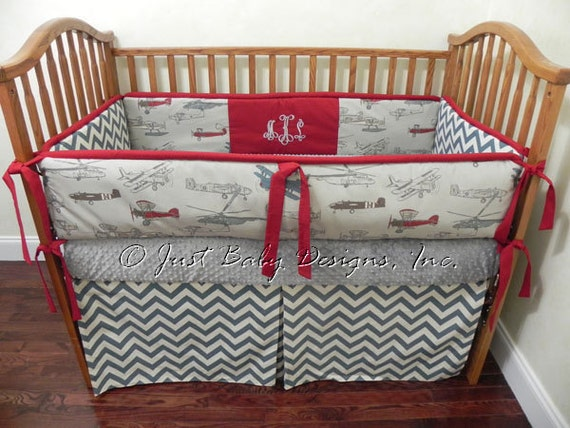 Custom Baby Bedding Set Dalton Boy Baby Bedding Airplane