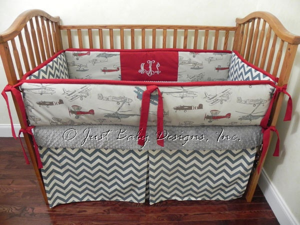 Custom baby bedding set dalton boy baby bedding airplane - Airplane crib bedding sets ...