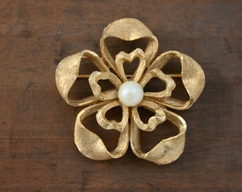 Signed BSK Flower Brooch with Faux Pearl