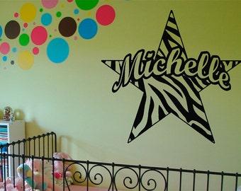 Zebra Stripe Star w/ custom text Vinyl Wall Decal Sticker Art