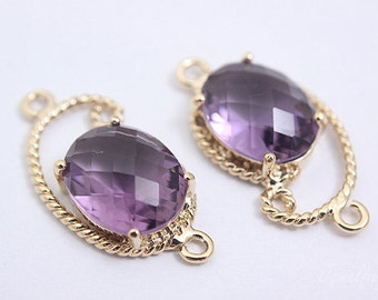 S057- 20PCS - Gold plated -Amethyst -Glass
