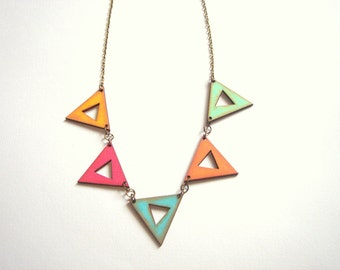 Geometric Necklace, Wood Triangles Necklace,Wood Bunting Necklace,Geometric Jewelry