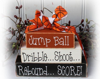 Basketball Itty Bitty Wood Blocks Sign