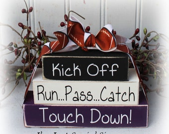 Football Itty Bitty Wood Blocks Sign