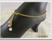 Ankle Bracelet - Pink Pearl Beads with Gold Chain