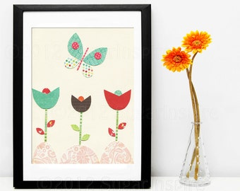 Butterfly Nursery Art Print, Kids Room Decor, Baby / Children Wall Art -  Flowers, Tulip, Teal, Red, Multicolour,.