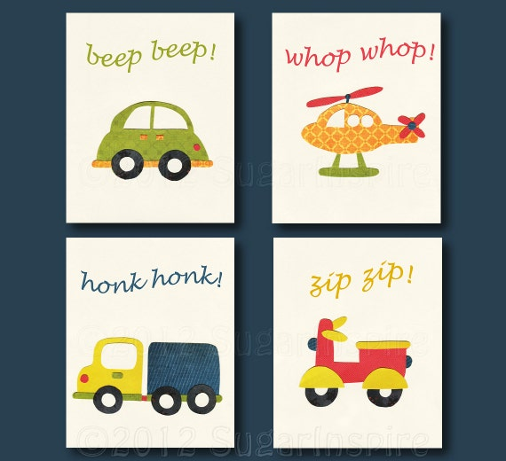 Nursery Wall Decor Transportation : Transportation nursery art print set kids room decor