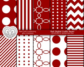 Red and White Crafts Paper Red Scrapbook Paper White Scrapbook Paper Premade Pages