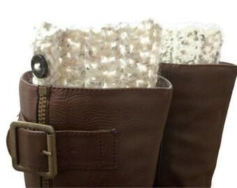 Boot Socks , Cream Boot Cuffs with Buttons , Women's Crocheted Boot Cuffs