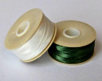 Thread  1 Green,  1 White,  size D Nymo Thread,  Nylon Thread,  Seed Beading Thread, Bobbins 64 yds each,  Beadweaving Thread Item #148