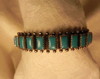 Vintage Cuff Bracelet Native American  Eleven Turquoise Settings Marked Sterling