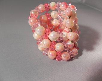 Vintage Bracelet   Pink Faux Pearls Coil Wrap