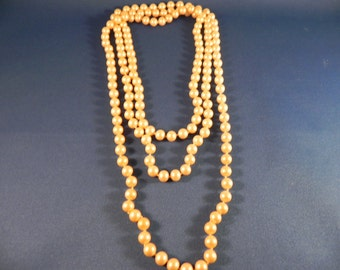 Vintage  Necklace Pearl  Rope Faux Hand Knotted  30 Inches Long