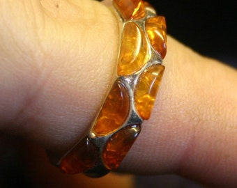 silver ring with amber, size 8 and 1/2, unique